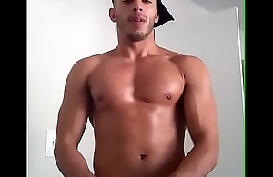 Hot Gay Latino Model Stroking His Cock on Cam