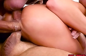 Pounded by THREE COCKS simultaneously!