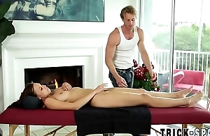 Massaged brunette licked
