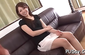 Oriental couple gets dirty stripping and fingering abundant in pussy