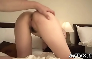 Japanese chick'_s twat is awfully juicy from stud'_s perverted toying