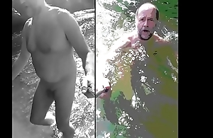 nudist bear dipping in cold water