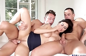 Anally spooned stud shoots his warm jizz
