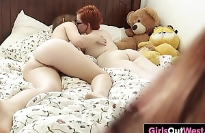 Cute Aussie lesbians lick assholes on the bed