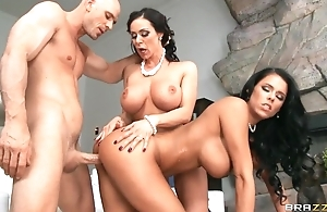 Lucky stud fucks with two fantastic brunettes