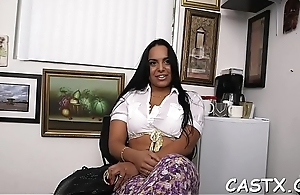 Casting agent asks the beauty to disrobe and play with dick