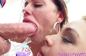 SWALLOWED Cock sucking teamwork with Ivy and Sadie
