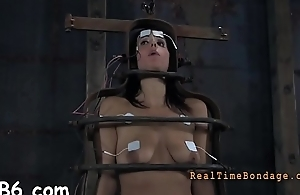 Gagged hotty with clamped nipps gets wild pleasure